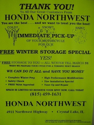 We Are Now Taking Reservations For FREE Winter Storage! Space Is Limited!  Call Our Service Dept. For Details.